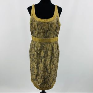 Carmen Marc Valvo Sequin Brown Brocade Dress
